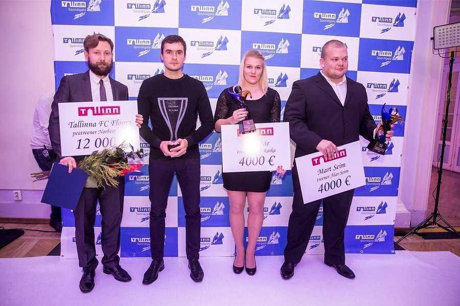 Jaak Prints, Norbert Hurt, Epp Mäe ja Mart Seim Tallinna spordigalal
