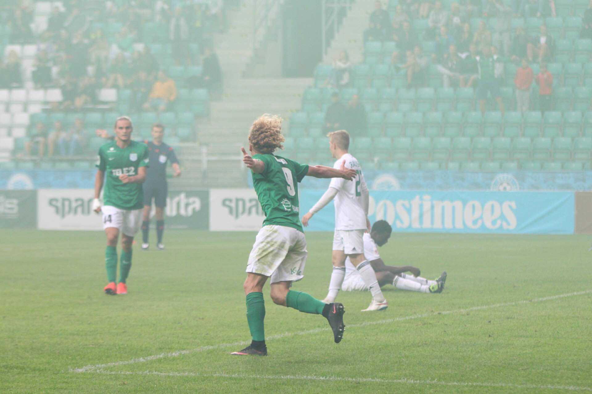 Rauno Alliku tähistab väravat FC Levadia vastu, 1.08.2016